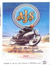 "AJS 1949  Motorcycle Racing  REPRO Poster 18 x 26"" ( 465 X 645mm)"